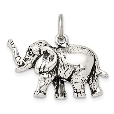 Beautiful Sterling silver 925 sterling Sterling Silver Antiqued Elephant Charm comes with a Free...