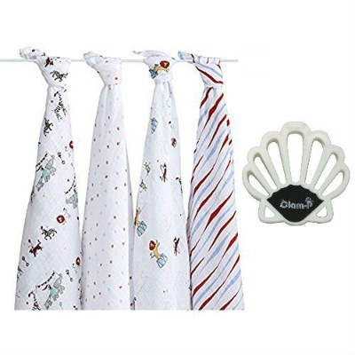 Aden + Anais Bundle - Classic Swaddle in VINTAGE CIRCUS (4) and White Clam-P Stroller Blanket Clips...