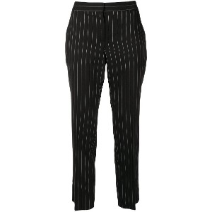 Alexander McQueen striped print cropped trousers - ブラック