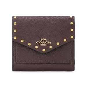 Coach rivets embellished small wallet - レッド
