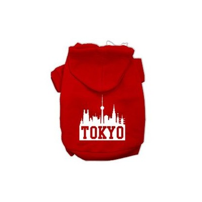 Tokyo Skyline Screen Print Pet Hoodies Red Size XXXL (20)