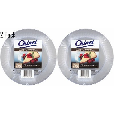 Chinet Cut Crystal Clear Plastic 7 inch Plates (64) by Chinet