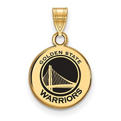 Beautiful Sterling Silver w/GP NBA LogoArt Golden State Warriors Sm Enl Disc Pendant comes with a...