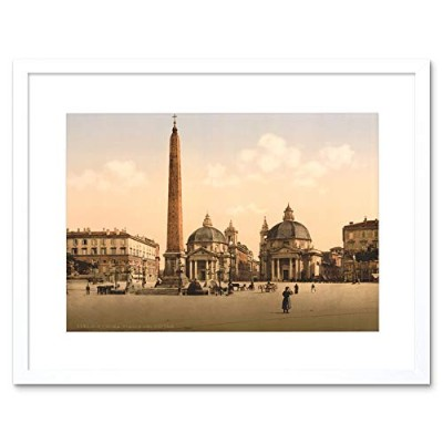Obelisk City Square People Place Rome Italy Framed Wall Art Print シティ人ローマイタリア壁
