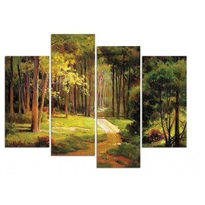 Wiecoアート–Windingパスモダン4Piece Stretched and Framed LandscapeアートワークGicleeキャンバス印刷グリーンフォレストツリー画像絵画キャンバ...