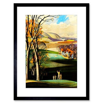 Painting Sport Golf Course Drive Green Clubhouse UK Framed Wall Art Print ペインティングスポーツ緑イギリス壁
