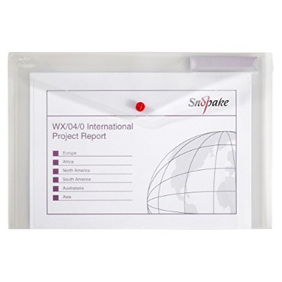 Snopake 11154X Polyfile Foolscap Popper Wallet File with Press Stud and Index Tab Classic Clear ...