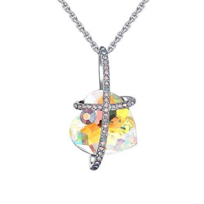 """karvnar"""" I Love You Foreverハートペンダントネックレスwith Swarovski Crystals–Jewellery for Women イエロー"""
