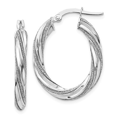 Beautiful White gold 14K Leslie's 14K White Glimmer Infused Oval Hoop Earrings comes with a Free...