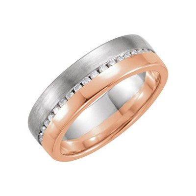 Beautiful Rose and white gold 14K Rose-and-white-gold 1/3Ctw Diamond Band comes with a Free Jewelry...