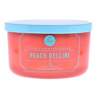 DWホームTropical Scented Candle Peach Bellini in wide-mouth Jar with Lid、3-wicks