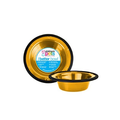 Platinum Pets 2-Cup Stainless Steel Wide Rimmed Bowl, Gold by Platinum Pets