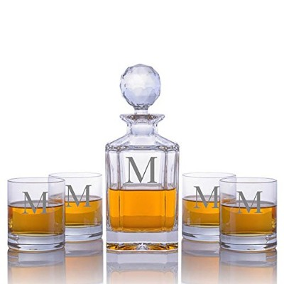 Personalized Engraved CrystalizeクリスタルWhiskey Liquor Decanter withモノグラム 5 Piece クリア CRYS-DEC-ENG