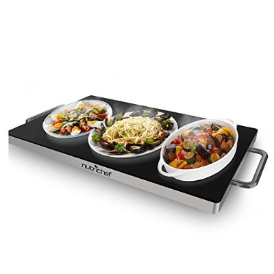 NutriChef Buffet Warmer Warming Tray Hot Plate with Non-Stick Heat-Resistant Glass (19.8'' x 11.9''...