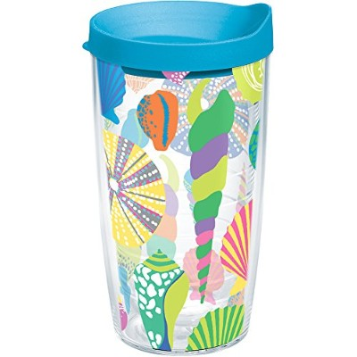 Tervis 1249938パステルシェルTumbler withラップとターコイズ蓋16オンス、クリア
