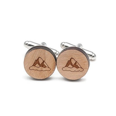 マウントエベレストCufflinks , Wood Cufflinks Hand Made In The USA