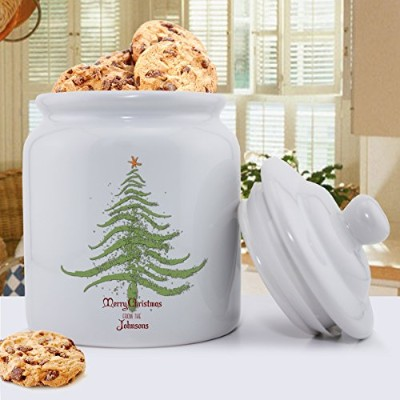 Personalized holiday cookie jar–クリスマスツリー