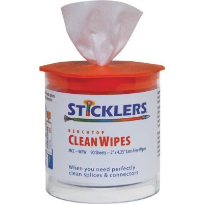 Sticklers mcc-wfw Benchtop cleanwipes for Fiber Optics、90 / Tub