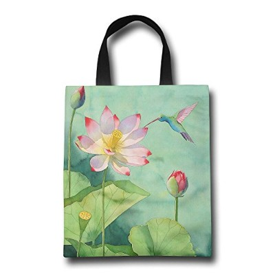 GJOHKRT Shopping Handle Bags -Lotus Personalized Tote Bag