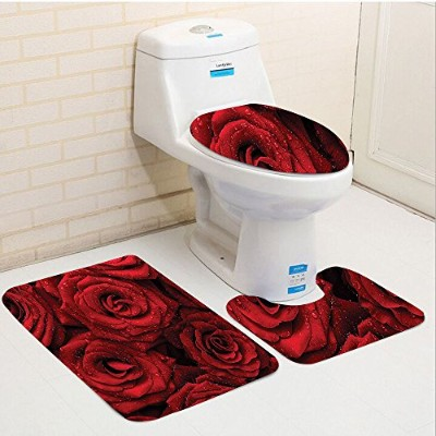 Keshia dwete three-pieceトイレシートパッドcustomred andブラックRomantic Eternal Symbol of Love Red Roses with...