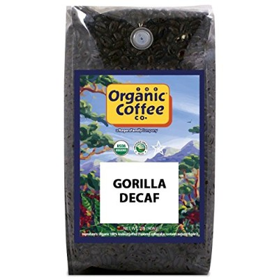 The Organic Coffee Co, Decaf Gorilla- Whole Bean, 2-Pound, Swiss Water Process- Decaffeinated, USDA...