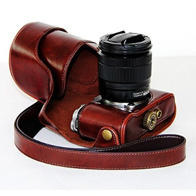 No1accessory XJPT-XM1-10 コーヒー色FujiFujifilm X-M1 XM1 X-A1 XA1 with 16-50mm lens 専用 防水 PU レザー 一眼レフ...