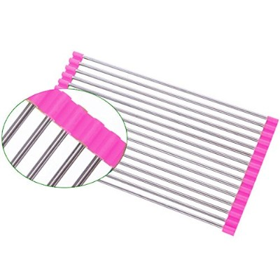 roll-up Dish Drainer Rack Bonus Dish Scrubber Multipurpose Square Rods乾燥ラックover theシンクキッチンカウンタートップ#...