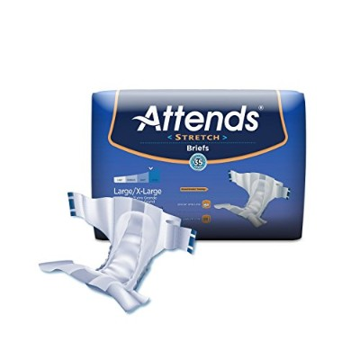 Attends Incontinence Care Dermadry Stretch Briefs for Adult, Large/X-Large, 96 Count by Attends