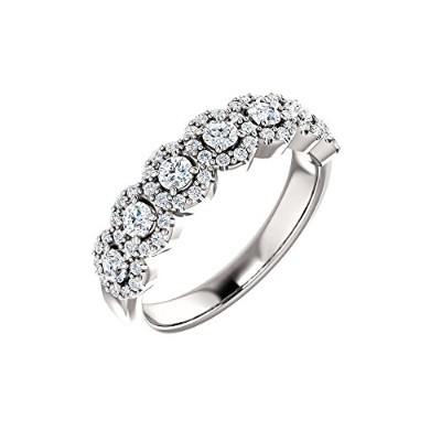 Beautiful White-gold 5/8 Ctw Diamond Anniversary Band comes with a Free Jewelry Gift