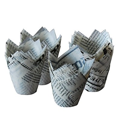 (50pcs) - ieasysexy White Newspaper Tulip Standard Cupcake Liners Wrappers,5.1cm Diameter x 2.5.1cm...