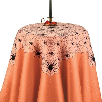Halloween Embroidered Spider Web Table Linens with Scalloped Edges, Square