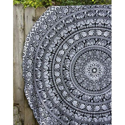 (180cm Roundie, Black & White) - Mandala Round Tapestry Hippie Indian Mandala Roundie Picnic Table...