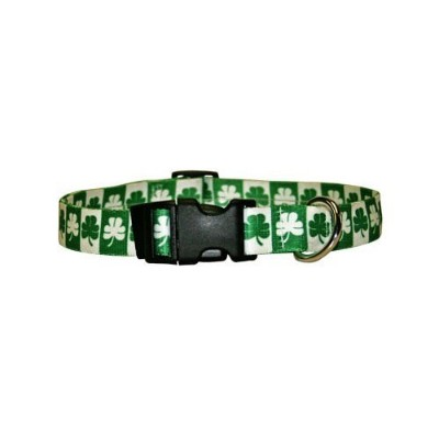 Shamrock Dog Collar - Size Cat 8 to 12 Long - Made In The USA by Yellow Dog Design