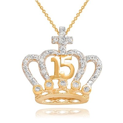 cz-studded Crown Cross Sweet 15 Años Quinceaneraネックレス14 Kイエローゴールド