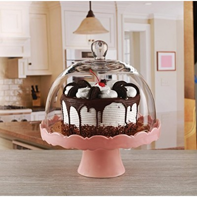 Circleware Dolche Torta Ceramic Cake Stand with Glass Dome, Rose, 11x12 Inches