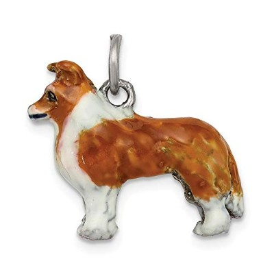 Beautiful Sterling silver 925 sterling Sterling Silver Enameled Shetland Sheepdog Charm comes with...