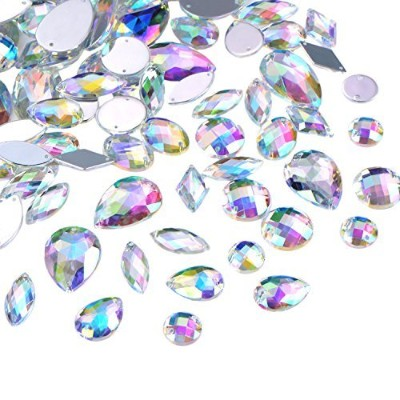 Hicarer 108 Pieces AB Clear Gems Acrylic Sew On Rhinestones Faceted Flatback Crystal Buttons for...