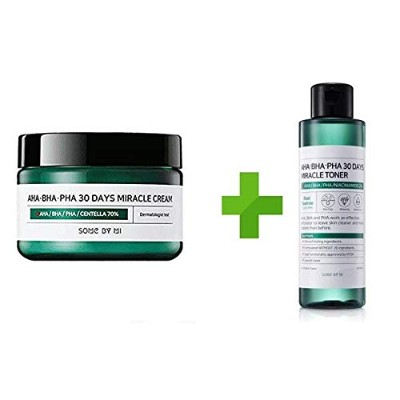 Somebymi AHA BHA PHA Miracle Cream (50ml + Toner 150ml)Skin Barrier & Recovery, Soothing with Tea...