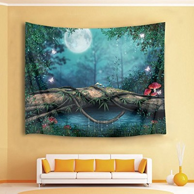 Hvest Fairytale Full Moon Nightジャングルタペストリー、木マッシュルームGrass and River In Forest Wall Hanging毛布のベッドルーム...