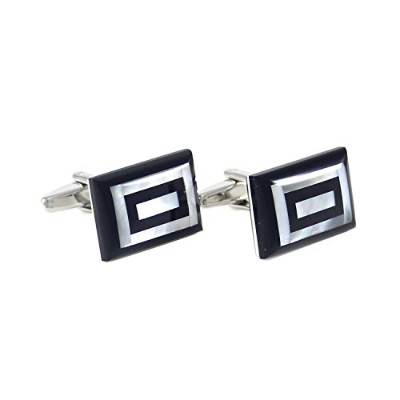 mendepotロジウムメッキカーブ長方形Onyx and Mother of Pearl Cuff Links withギフトボックス