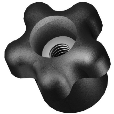 Innovative Components AN4C-5S221 1.38 Star knob thru hole 1/4-20 steel zinc insert black pp (Pack...