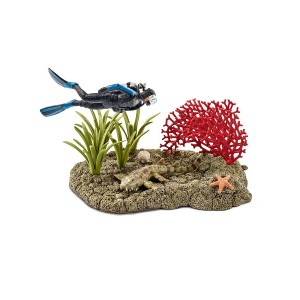 Schleich サンゴ礁とダイバー プレイセット○42328 おもちゃ