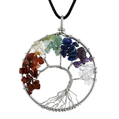 XC-WU Fashion Handmade Tree of Life Chakra Necklace for Women Colorful Natural Stone Gravel Life...