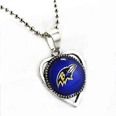 Star Baltimore Ravens Casual Zinc Alloy Football Sports Team Round Glass Pendant Silver Beads...