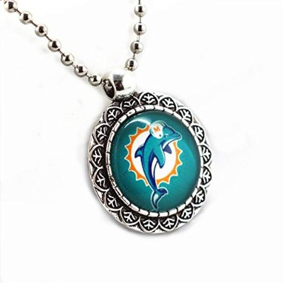 Zinc Alloy Miami Dolphins Football Sports Team Glass Silver Beads Chains Pendant Necklace [並行輸入品]