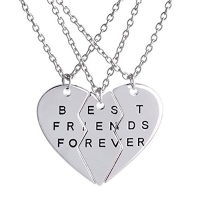 3 Pcs Best Friends Forever刻印ネックレスBroken HeartチャームペンダントセットBFF友情ネックレスギフト シルバー