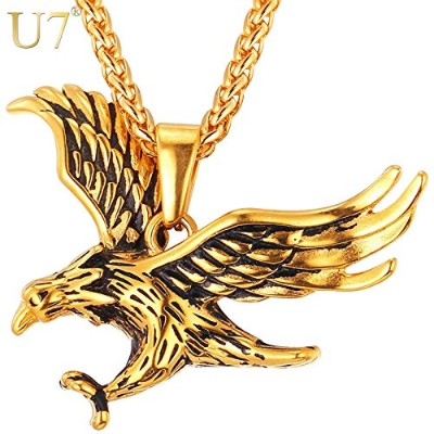 Gold Color Eagle Charm Pendant Chain Necklace Statement Jewelry For Men [並行輸入品]