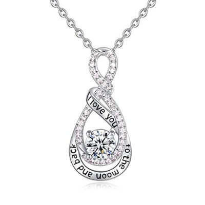 Caller Sterling Silver Infinity Love Clear CZ Angel Women Pendant Necklace [並行輸入品]