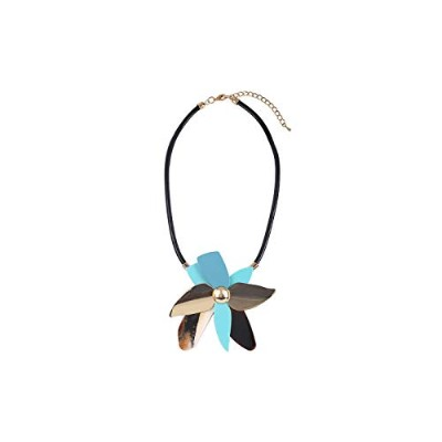 Rope Chain Big Resin Flowers Newest Boho Zinc Alloy Leather Pendant Necklace [並行輸入品]