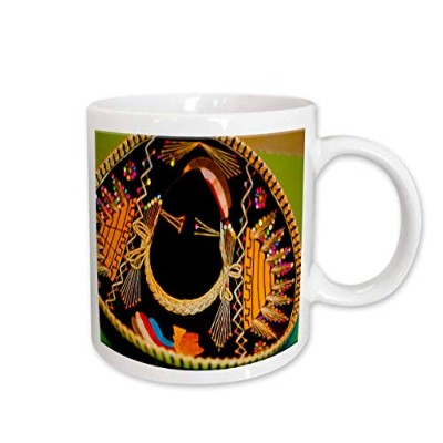 (330ml) - 3dRose Mexican Hat Hanging on Wall, Bright Vibrant Yellow and Black, Ceramic Mug, 330ml